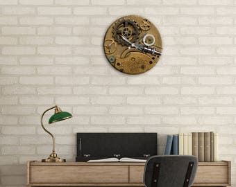 Wall Clock, Steampunk, Gear Clock, Clock, Watch Gears, Home Decor, Office, Gift for Dad, Holiday Gift, Bedroom Clock