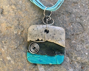 Square Pendant, Statement Necklace, Wearable Art, Polymer Clay Pendant, Sculpted Jewelry, Art Jewelry, Handmade Jewelry, Ribbon Necklace