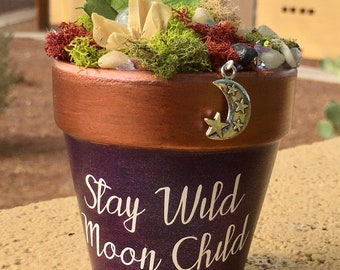 Gift Garden, Garden Art, Potted Garden, Wiccan, Wiccan Charm, Gift for Her, Handmade Art, Birthday Gift, Witch, Sparkle Gift, Nature Garden