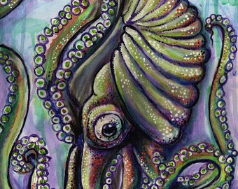 Argonaut Octopus, Octopus Art, Art Print, Home Decor, Octopus, Housewarming Gift, Ocean Lover, Beach and Tropical