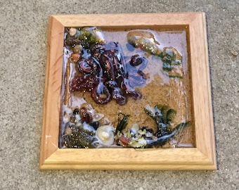 Octopus Sulpture, Mini Art, Ocean Art, Resin Art, Octopus Art, Handmade Art, Home Decor, Housewarming Gift, Tidepool, OOAK art