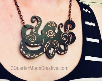 Octopus Necklace, Halloween Jewelry, SteamPunk Octopus, Gothic Necklace, Gift for Steampunk, Octopus Art, Ocean Themed Jewelry