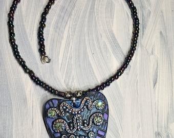 Occult Necklace, Swarovski Crystal, Ouija Necklace, Pendant Necklace, Planchette Pendant, Beaded Necklace, Pendant Necklace,