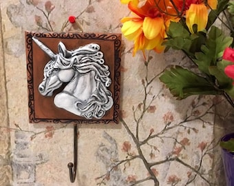 Unicorn, Coat Hanger, Fantasy Art, White Unicorn, Gift for her, Unicorn Plaque, Handmade Art, Home Decor, Housewarming Gift