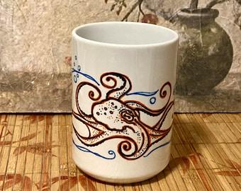 Octopus Gift, Octopus Coffee Mug, Handmade Gift, Coffee Mug, Hand Drawn Mug, Gift for Anyone, Ocean Lover, Octopus Art Coffee Mug