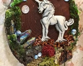 Unicorn Art, Wood Plaque, Handmade Gift, Art for Home, Diorama, Mini Art, Art Plaque, Gift for girl, gift for her, Fantasy art, Unicorn