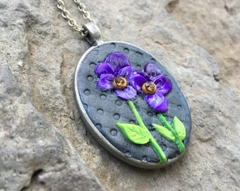 Polymer Clay Jewelry, Floral Pendnat, Handmade Jewelry, Dimensional Jewelry, Sculpted Necklace, Floral Necklace, Violet Flower, Oval Pendant