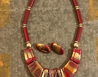 Vintage Necklace, 70's Jewelry, Porcelain Necklace, Boho Necklace, 80's Jewelry, Beaded Necklace, Jewelry Set, Tribal Necklace, BoHo Fashion