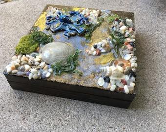 Octopus Sulpture, Functional Art, Ocean Art, Resin Art, Octopus Art, Handmade Art, Home Decor, Housewarming Gift, Tidepool, Octopus in Water