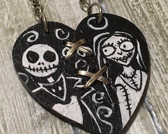 Stitched Up Heart, Jack and Sally, Heart Necklace, Nightmare Before Christmas, Painted Heart, Black Heart