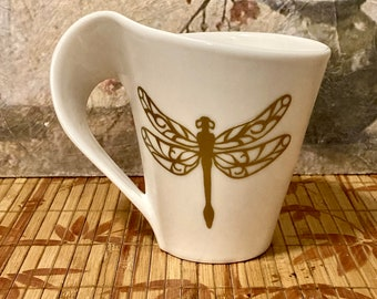 Dragonfly, Dragonfly Art, Coffee Mug, Tea Cup, Gift for Coffee Lover, Sophisticated Mug, Gift of Tea,
