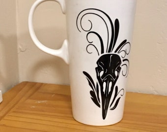 Raven Coffee Mug, Horror Gift, OOAK, Horror Coffee Mug, Raven Skull, Pagan Art, Gift for Anyone, Coffee Mug, Functional Art