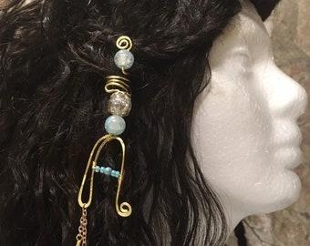 Hair Jewelry, Braid Jewelry, Braid Wire Wrap, Beaded Dread Jewelry, Dread Jewelry, Bellydance Hair Jewelry, Monogram Jewelry