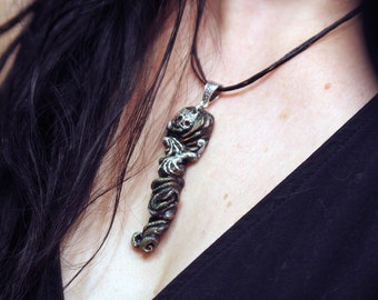 Scary Necklace, Skeleton Necklace, Skeleton Pendant, Halloween Necklace, Handmade Jewelry, Skeleton Pendant, Ghoul, Creepy Jewelry