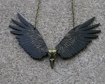 Raven Necklace, Skull Necklace, Statement Necklace, Steampunk Necklace, Tribal Jewelry, Wings Necklace, Gothic Jewelry, Bird Jewelry