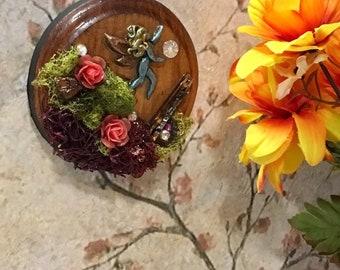Fairy Art, Wood Plaque, Handmade Gift, Art for Home, Fairy Habitat, Mini Art, Art Plaque, Gift for girl, gift for her, Fantasy art, Fae
