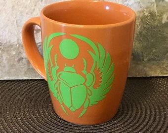 Egyptian Scarab, Scarab, Inspirational Mug, Holiday Gift, Egyptian Gift, Coffee Mug, Scarab, Spiritual Scarab, Scarab Art
