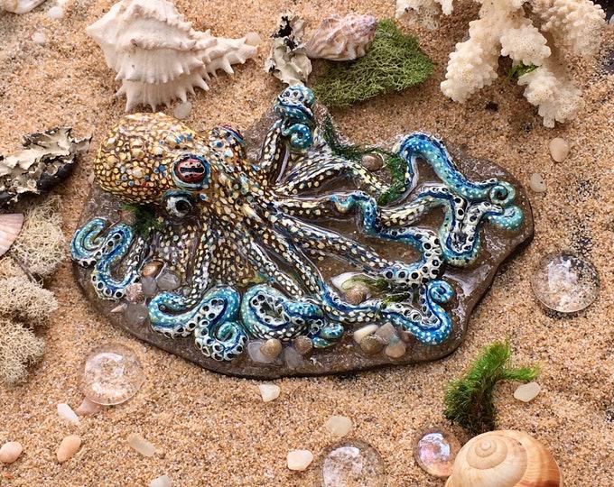 Featured listing image: Octopus Sculpture, Beach Scene, Steampunk Art, Octopus Art, Tide Pool Art, Home Decor, Housewarming Gift, Tentacles, Ocean Art, Resin Art