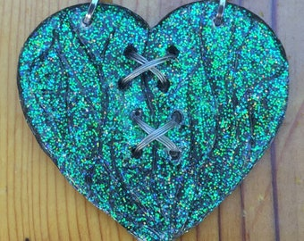 Heart Necklace, Statement Necklace, Gift for Her, Heart Pendant, SteamPunk Heart, Heart Jewelry, Glitter Heart, Broken Heart, HandMade Jewel