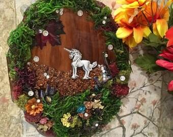Unicorn Art, Wood Plaque, Handmade Gift, Art for Home, Girls Room, Mini Art, Art Plaque, Gift for girl, gift for her, Fantasy art, Unicorn
