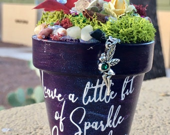 Gift Garden, Garden Art, Potted Garden, Fairy, Fairy Charm, Gift for Her, Handmade Art, Birthday Gift, Gift for Girl, Sparkle Gift