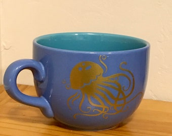 Jellyfish, jellyfish Gift, OOAK, Ocean Gift, Coffee Mug, Gift for Ocean Lover, Blue, gold, Ocean Theme, functional art, Coffee mug, soup mug