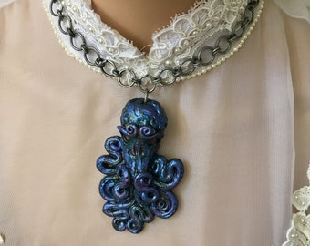 Cthulhu Necklace, Cthulhu, Sculpted Necklace, Distressed Jewelry, Artisan Jewelry, Handmade Jewelry, HP Lovecraft, Horror Jewelry