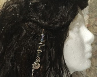 Hair Jewelry, Braid Jewelry, Braid Wire Wrap, Beaded Dread Jewelry, Dread Jewelry, Bellydance Hair Jewelry, Everyday Hair Jewelry