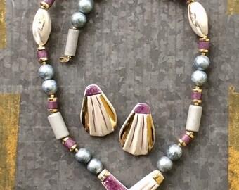 Vintage Necklace & Earring Set, 70's Jewelry, Porcelain Necklace, Boho Necklace, 80's Jewelry, Beaded Necklace, Jewelry Set, Beach BoHo