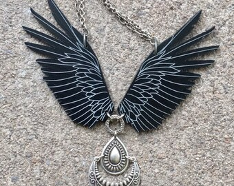 Raven Necklace, Statement Necklace, Steampunk Necklace, Balinese Pendant, Bellydance Necklace, Viking Jewelry, Raven Jewelry