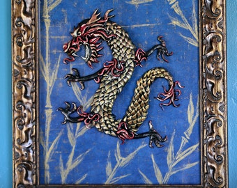 Chinese Dragon, Original Art, Polymer Clay Sculpture, framed and Signed