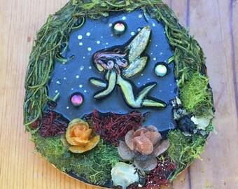 Fairy Art, Wood Plaque, Handmade Gift, Art for Home, Fairy Habitat, Mini Art, Dimentional Art, Gift for girl, gift for her, Fantasy art,