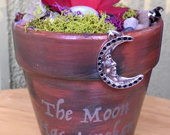 Gift Garden, Garden Art, Potted Garden, Wiccan, Wiccan Charm, Gift for Her, Handmade Art, Birthday Gift, Witch, Sparkle Gift, Moon