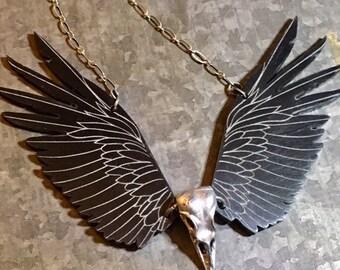 Raven Necklace, Raven Necklace, Statement Necklace, Steampunk Necklace, Tribal Jewelry, Raven Skull, Viking Jewelry, Raven Jewelry