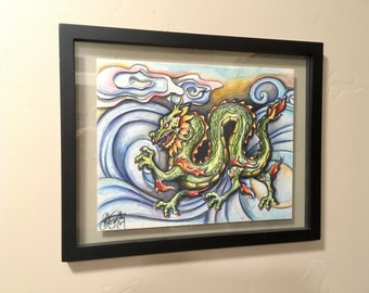 Original Art, OOAK, Pen and Ink, Illustration, Ready to Hang, Chinese Dragon, Art Print, Framed Art, Home Decor, Housewarming Gift