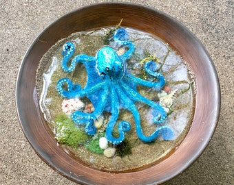 Octopus Sculpture, Blue Octopus,Resin Art, Octopus, Home Decor, Housewarming Gift, Tidepool, Octopus in Water, Ocean In your Livingroom