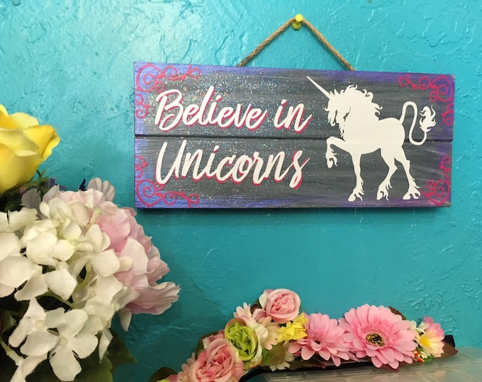 Featured listing image: Unicorn Sign, Girl's Room, Unicorn, Glitter, Pink Glitter, Unicorn Sign Wood, Unicorn Sign for room, Unicorn Wall Art, Magical Sign