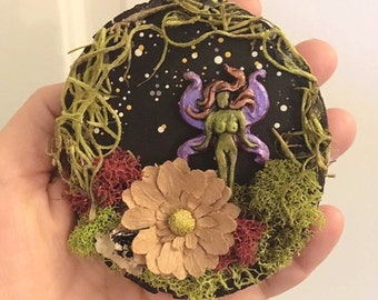 Faerie Art, Fairy Art, Fairy Habitat, Wall Art Plaque, Gift for Girl, Mini Art, Gift for Her, Fantasy Art, Nature Art, Forest Fairy, Diorama