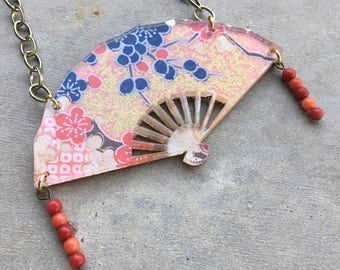 Japanese Fan Statement Necklace - Red and Leaf Accents- Maiko Geisha