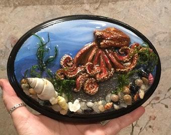 Octopus Sulpture, Mini Art, Steampunk Art, Octopus Art, Handmade Art, Home Decor, Housewarming Gift, Tentacles, Ocean Art, Diorama,