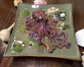 Octopus Sculpture, Giant Octopus,Resin Art, Octopus, Handmade Art, Home Decor, Housewarming Gift, Tidepool, Octopus in Water