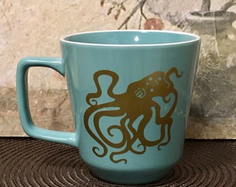 Octopus, Octopus Gift, Holiday Gift, Ocean Gift, Coffee Mug, Gift for Ocean Lover, Teal, Gold, Ocean Theme