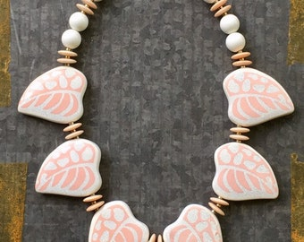 Vintage Necklace, 70's Necklace, Porcelain Necklace, Boho Necklace, 80's Necklace, Beaded Necklace, Beach BoHo, Floral Necklace, Vintage