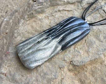 HandMade Jewelry, Polymer Clay Pendant, Abstract Jewelry, Avant Garde Jewelry, Unisex Necklace, Glitter Necklace, Industrial Jewelry, Silver