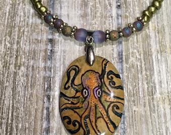 Octopus Necklace, Tentacles, Mermaid Pendant, Resin Necklace, Handmade Jewelry, Ocean Necklace, Wood Pendant,