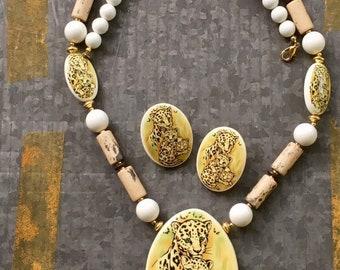 Vintage Necklace, 70's Jewelry, Ceramic Necklace, Boho Necklace, 80's Jewelry, Beaded Necklace, Jewelry Set, Tribal Necklace, BoHo Fashion