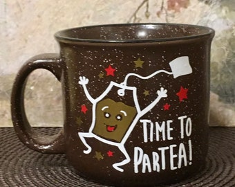 Tea Cup, Tea Gift, Holiday Gift, Coffee Mug, Gift for Tea Lover, Steampunk Tea, Gold, Tea Time, Time To ParTea, Tea Duel, Gift of Tea,