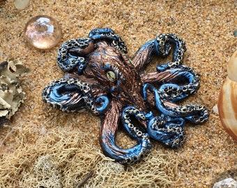 Octopus Sculpture, Beach Art, Magnet, Steampunk Art, Octopus Art, Tide Pool Art, Home Decor, Tentacles, Ocean Art, Resin Art
