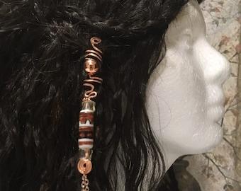 Hair Jewelry, Braid Jewelry, Braid Wire Wrap, Beaded Dread Jewelry, Dread Jewelry, Bellydance Hair Jewelry, Southwestern Hair Jewelry