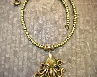 Octopus Necklace, Tentacles, Octopus Pendant, Resin Necklace, Handmade Jewelry, Ocean Necklace, Fashion Necklace, Swarovski, Silver